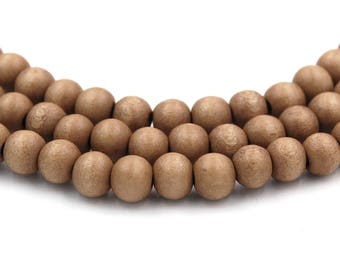 Toasted Almond Brown Wood Round 10mm, Brown Boho Wood Beads -16 inch strand