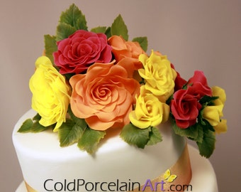 Roses Cake Topper - Cold Porcelain Art - Made to Order