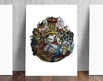 We're All Mad Here Print from Original Gouache Painting by Catherine Dolch