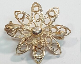 Vintage Sterling Silver Filigree Flower Brooch Pin