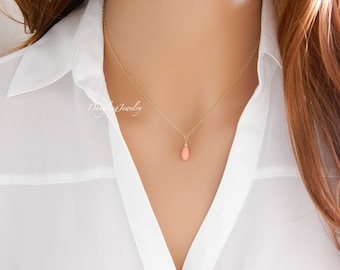 Delicate Coral Necklace, SILVER Teardrop Tiny Necklace Coral, Simple Layering Necklace, Pink Coral for Girl, Dainty Minimalist Necklace