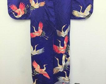 Vintage Oiran / Tayuu silk uchikake beautiful embroidered cranes