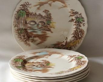 Six Medium Dinner Plates Vintage 1950\u0027s Alfred Meakin English Bridges Series & Alfred Meakin 2 Dinner Plates Dorian Pattern English