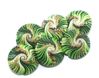 Focal beads for jewelry making with tiny gold dots, swirl beads, polymer clay lentil beads in greens, unique pattern, set of 6 elegant beads