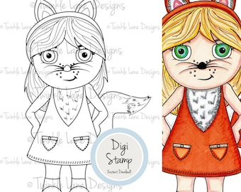 Fox Girl Clipart, Digi Stamps, Fox Illustration, Adult Colouring, Girly Clipart, Printable, Black and White, PDF Papercraft, Fox Fashion
