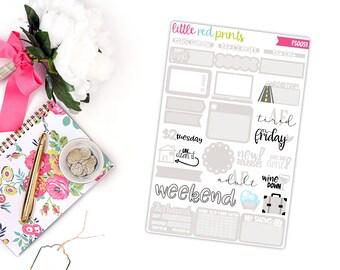 Light Beige Functional Sampler Number 2, Planner Stickers for the Erin Condren Life Planner, Sampler Sheet - [FS0051]