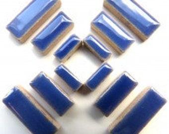Delphinium Blue Glazed Ceramic RECTANGLES (3 sizes a set)//Border Tiles//Mosaic Tiles//Craft Supplies//Mosaic Pieces