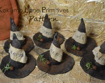 INSTANT Download PATTERN...6 Primitive Witch Hat Bowl Fillers Craft Sewing E-Pattern PDF 104