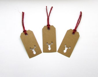 10 Stags Head Gift Tags, Gifts, Wedding, Presents, Natural, Special, Christmas, Autumn, Winter, Handmade, Free postage to UK
