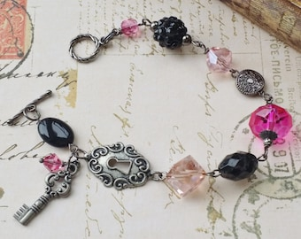 "Fuchsia and Black Vintage Style Gun Metal Beaded Bracelet ""HER SECRET DIARY"" Neo Victorian Jewelry Artistic Jewelry Unique Jewelry Teen Gift"