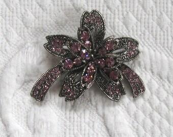 rhinestone brooch . pink rhinestone paisley brooch . pink flower rhinestone brooch .
