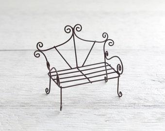 Fairy Garden Bench - Miniature Rustic Metal Wire Furniture