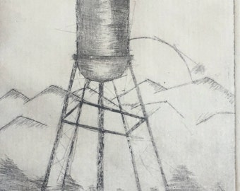 Water Tower Etching Print