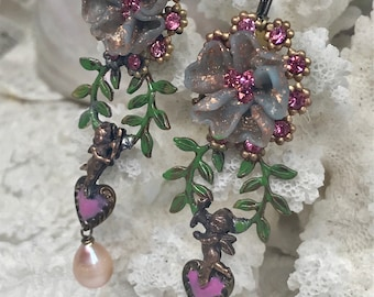 Lilygrace Delicate Lavender Flower Earrings, with Laurel Wreaths, Cherubs, Hearts and Freshwater Pearls