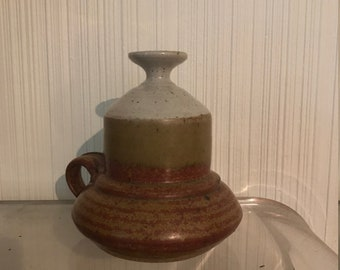 Vintage studio pottery earth tone 60's oil lamp