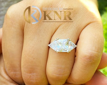 Large 14k solid white gold radiant shape and trillion cut forever one moissanite engagement ring art deco three stone style 3.00ctw