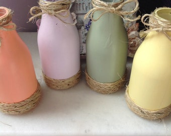 MILK Bottles - Rustic ~ Country Milk Bottle, Gift, Wedding, Hostess Gift, SPRING~SUMMER Milk Bottles, Beach, Cottage Chic  Milk Bottles