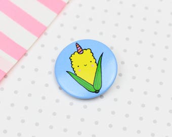 Cute Sweetcorn Unicorn Pin Button Badge Gift Stocking Filler Patches and Pins Pin Badge