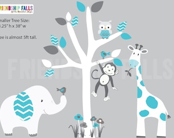 nursery Jungle Decal, elephant Wall Decal, giraffe decal, Nursery Wall Decal, Friendship Falls XXL Branch Tree Set - Teal Chevron Scene