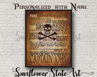 Talk Like A Pirate Day, Pirate Birthday Party, Pirate Themed Party, Personalized Pirate Typography, Pirate Poster, Pirate Art, Pirate Gift