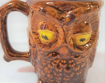 Kitschy 1980's 3-D Owl Coffee Mug Brown Ceramic
