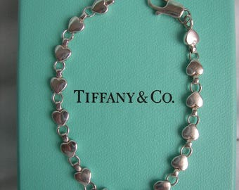 Tiffany & Co. Sterling Silver Chain of Hearts Bracelet 7 Inches