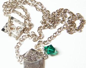 Silver Charm Necklace, Loveletter Charm Necklace with Swarovski Crystal, Birthstone Necklace, Emerald Birthstone Necklace, Birthday Gift