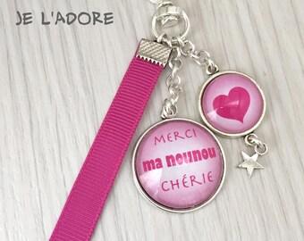 nounou porte-clés bijou de sac a message  merci ma nounou chérie rose .REF.120