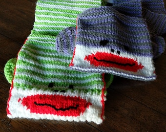 Youth Sock Monkey Scarf with Pockets/Child's Scarf/Sock Monkey Obsessed