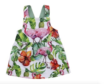 Girls flamingo Pinafore, Girls Bib Skirt, Baby Pinafore, Toddlers Pinafore Dress, Childrens Overalls, Bib and Brace, Solid Colour Dungarees.