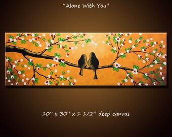 Original wall art / bird painting / anniversary wedding gift / gift for wife girlfriend husband spouse / lovebird art / romantic gift