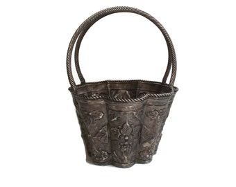 Large Silver Plate Basket, Container with Handle