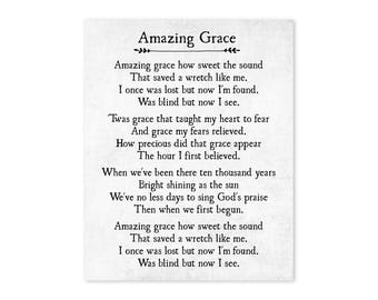 Amazing Grace Print - Christian Wall Art - Amazing Grace Wall Art - Farmhouse Decor - Housewarming Gift -  Large Wall Art -  Fine Art Print