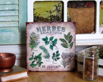 """1:12th Scale ~ Dolls House ~ """"Herbes Aromatiques de Provence ~ French Cuisine Wall Panel"""