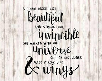 Beautiful, Invincible, Universe, Wings SVG, PNG, EPS, Dxf Cut Files, Hand Lettered, Quotes, Inspiration, for Silhouette, Cricut, Vector,Sale