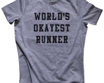 World's Okayest Runner fitness exercise gym yoga running Women's Relaxed Soft Triblend Shirt Or Men Shirt