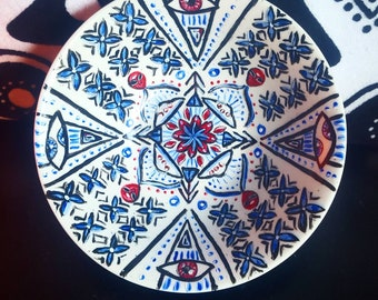 Original 3rd eye hand painted manadala painting wall plate bowl