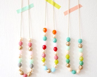 Layering Bead Strand Necklace, Colorful Layering Necklace, Colorful Bead Necklace, Beaded Layering Necklace