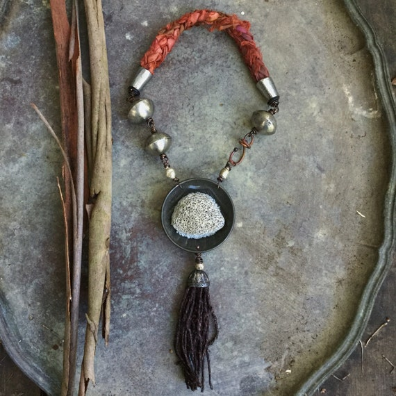 Rustic assemblage necklace with large natural stone, Ethiopian beads, braided sari silk