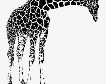 Giraffe decal, giraffe decor, giraffe decorations, giraffe wall decal, giraffe wall art, giraffe wall decor, giraffe wall sticker, D00103