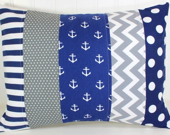 Nautical Pillow Cover, Nursery Decor, Cushion Cover, Throw Pillows, Decorative Pillows, 12 x 16, Navy, Grey, Gray, White, Anchor, Baby Boy