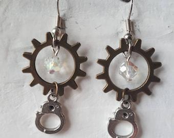 Handcuff earrings, drop earrings, steampunk earrings, austrian crystal earrings, statement earrings, ladies earrings, womans earrings