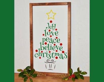 Christmas Tree Made Of Words | Word Christmas Tree | Tree Made Of Words | Joy Love Peace Believe Christmas Tree | Framed Christmas Tree