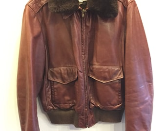 Leather Bomber Jacket Mens Tag Size 42 1950's Oxblood Brown Removable Mouton Fur Collar Condition Good Georgetown Leather Group
