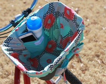 REversible Bike Basket Liner Coral Gray Aqua Floral For Bell, Electra, Huffy  Baskets Ready to ship