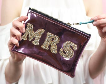 "Mirror Shine Sparkly ""Mrs"" Bride Bag"