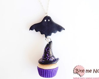 Halloween Witch Cupcake Necklace, Mini Food Jewelry, Spooky Necklace, Halloween Jewelry, Halloween Charm, Bat Necklace, Halloween Necklace