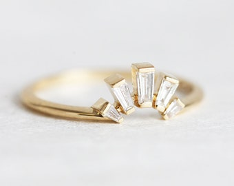 Baguette Diamond Ring, Baguette Wedding Ring, Wedding Band for Her, Rose Gold, White Gold, Yellow Gold Stacking Ring, Bridal Ring, Minimalvs