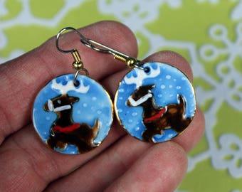 Reindeer Porcelain Dangle Earrings