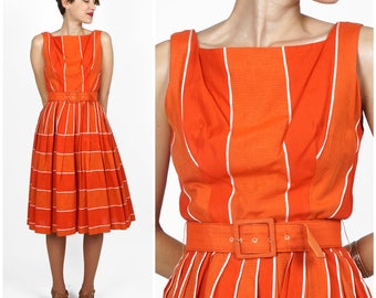 Vintage 50s/60s Belted Orange & Red Striped Day Dress by Gigi Young | Small